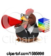 Poster, Art Print Of 3d Brown Business Chicken Holding Books On A White Background