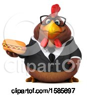 Poster, Art Print Of 3d Brown Business Chicken Holding A Hot Dog On A White Background