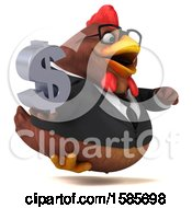 Poster, Art Print Of 3d Brown Business Chicken Holding A Dollar Sign On A White Background