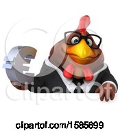 Poster, Art Print Of 3d Brown Business Chicken Holding A Euro Symbol On A White Background