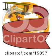Man Waving While Flying A Biplane With A Long Red Banner Trailing Behind Clipart Illustration