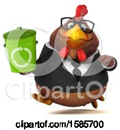 Poster, Art Print Of 3d Brown Business Chicken Holding A Recycle Bin On A White Background