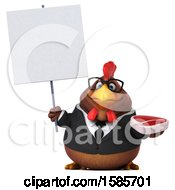Poster, Art Print Of 3d Brown Business Chicken Holding A Steak On A White Background