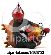 Poster, Art Print Of 3d Brown Business Chicken Holding A Blood Drop On A White Background