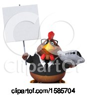 Poster, Art Print Of 3d Brown Business Chicken Holding A Plane On A White Background