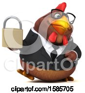 Poster, Art Print Of 3d Brown Business Chicken Holding A Padlock On A White Background
