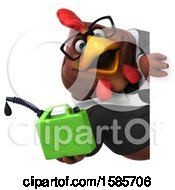 Poster, Art Print Of 3d Brown Business Chicken Holding A Gas Can On A White Background