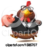 Poster, Art Print Of 3d Brown Business Chicken Holding A Piggy Bank On A White Background