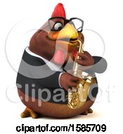 Poster, Art Print Of 3d Brown Business Chicken Playing A Saxophone On A White Background