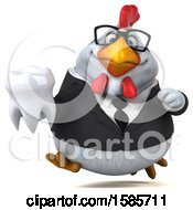 Poster, Art Print Of 3d White Business Chicken Holding A Tooth On A White Background