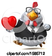 Poster, Art Print Of 3d White Business Chicken Holding A Heart On A White Background