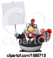 Poster, Art Print Of 3d White Business Chicken Holding An Alarm Clock On A White Background