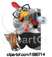 Poster, Art Print Of 3d White Business Chicken Holding A Beer On A White Background