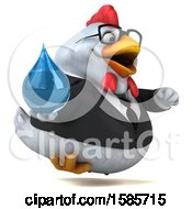 Poster, Art Print Of 3d White Business Chicken Holding A Water Drop On A White Background