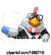3d White Business Chicken Holding A Pill On A White Background