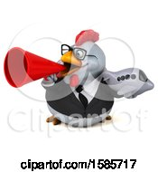 Poster, Art Print Of 3d White Business Chicken Holding A Plane On A White Background
