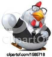 3d White Business Chicken Holding A Golf Ball On A White Background