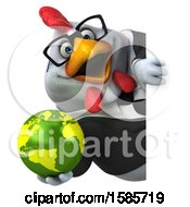 Poster, Art Print Of 3d White Business Chicken Holding A Globe On A White Background