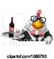 Poster, Art Print Of 3d White Business Chicken Holding Wine On A White Background