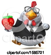 Poster, Art Print Of 3d White Business Chicken Holding A Strawberry On A White Background