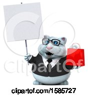 3d White Business Kitty Cat Holding A Shopping Bag On A White Background