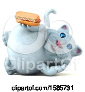 Clipart Of A 3d White Kitty Cat Holding A Hot Dog On A White Background Royalty Free Illustration