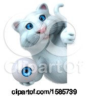 Clipart Of A 3d White Kitty Cat Holding An Eye On A White Background Royalty Free Illustration