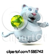 Clipart Of A 3d White Kitty Cat Holding A Globe On A White Background Royalty Free Illustration