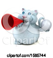 Clipart Of A 3d White Kitty Cat Holding A Golf Ball On A White Background Royalty Free Illustration