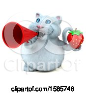 Clipart Of A 3d White Kitty Cat Holding A Strawberry On A White Background Royalty Free Illustration
