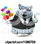 Clipart Of A 3d White Business Kitty Cat Holding Messages On A White Background Royalty Free Illustration