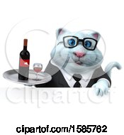 Clipart Of A 3d White Business Kitty Cat Holding Wine On A White Background Royalty Free Illustration