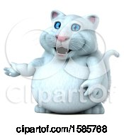 Clipart Of A 3d White Kitty Cat Presenting On A White Background Royalty Free Illustration by Julos