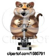 Clipart Of A 3d Tabby Kitty Cat Exercising On A Spin Bike On A White Background Royalty Free Illustration