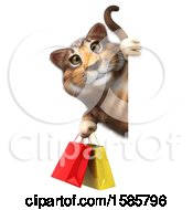 3d Tabby Kitty Cat Holding Shopping Bags On A White Background