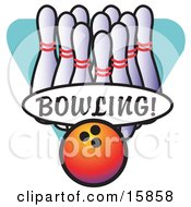 Bowling Ball By A Lineup Of Pins Clipart Illustration