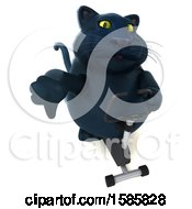Clipart Of A 3d Black Kitty Cat Exercising On A Spin Bike On A White Background Royalty Free Illustration