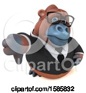 Clipart Of A 3d Business Orangutan Monkey Holding A Thumb Down On A White Background Royalty Free Illustration
