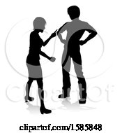 Clipart Of A Silhouetted Couple Fighting With A Reflection Or Shadow On A White Background Royalty Free Vector Illustration