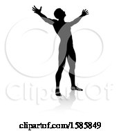 Clipart Of A Silhouetted Man Holding His Arms Up To The Sky With A Reflection Or Shadow On A White Background Royalty Free Vector Illustration