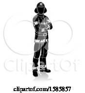 Clipart Of A Silhouetted Fireman With A Reflection Or Shadow On A White Background Royalty Free Vector Illustration