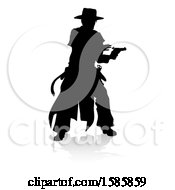 Silhouetted Shooting Cowboy With A Reflection Or Shadow On A White Background