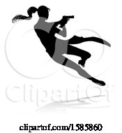 Clipart Of A Silhouetted Femme Fatale Shooting With A Reflection Or Shadow On A White Background Royalty Free Vector Illustration by AtStockIllustration