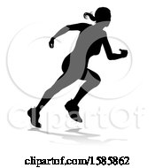Clipart Of A Silhouetted Female Runner With A Reflection Or Shadow On A White Background Royalty Free Vector Illustration