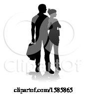 Silhouetted Couple Shopping With A Reflection Or Shadow On A White Background