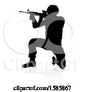 Silhouetted Male Armed Soldier With A Reflection Or Shadow On A White Background