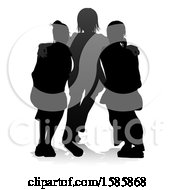 Clipart Of A Silhouetted Group Of Teens With A Reflection Or Shadow On A White Background Royalty Free Vector Illustration