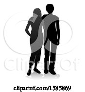 Silhouetted Couple With A Reflection Or Shadow On A White Background