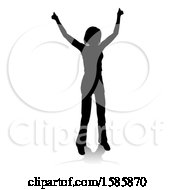 Clipart Of A Silhouetted Teenager With A Reflection Or Shadow On A White Background Royalty Free Vector Illustration by AtStockIllustration