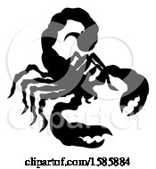 Clipart Of A Silhouetted Scorpion Royalty Free Vector Illustration by AtStockIllustration